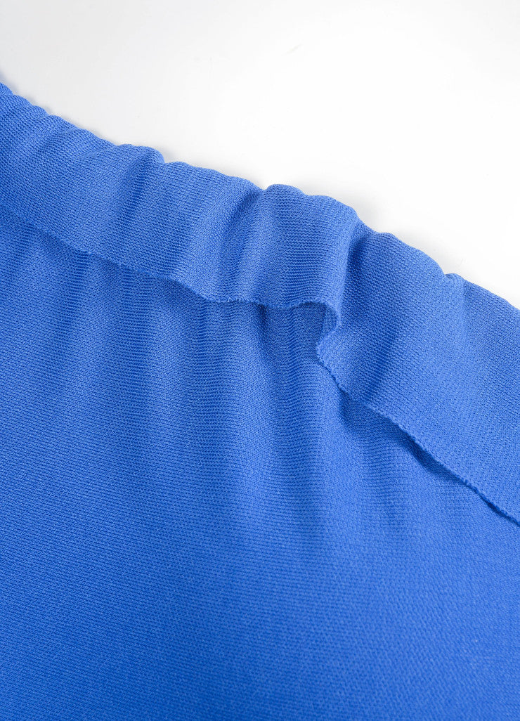 Roland Mouret Blue Periwinkle Jersey One Shoulder Dress Detail