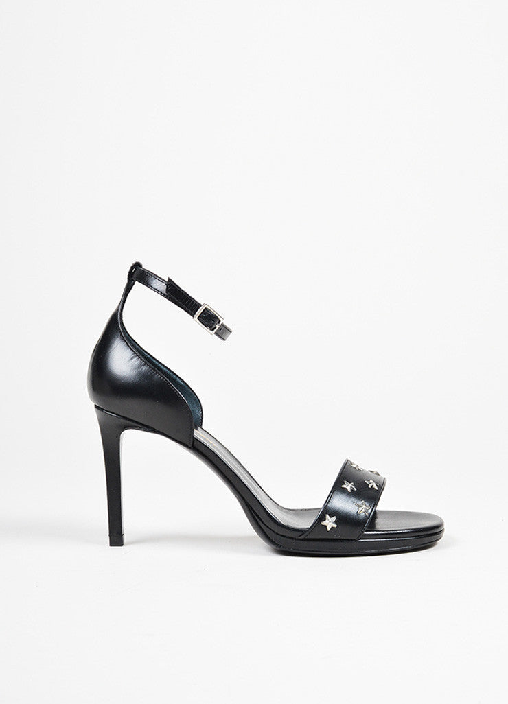 "Black and Silver Toned Leather Star Studded Saint Laurent ""Jane"" Heels Sideview"