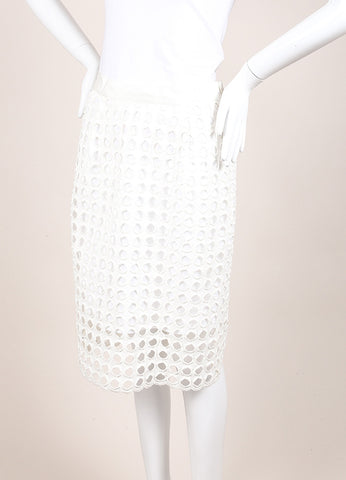 Sea New With Tags White Woven Knit Eyelet Overlay Pencil Skirt Sideview