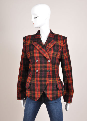 Sonia Rykiel Black, Red, and Yellow Plaid Tweed Double Breasted Blazer Frontview