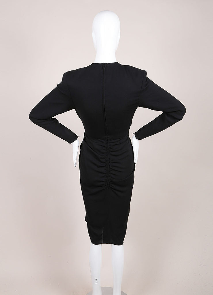 Galanos Black Draped Ruched Long Sleeve Dress Backview