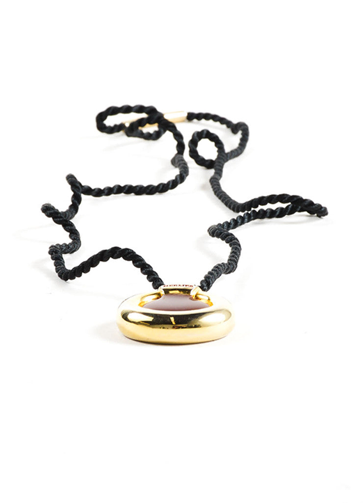 Hermes Black, Red, and Gold Toned Perfume Bottle Pendant Cord Necklace Sideview
