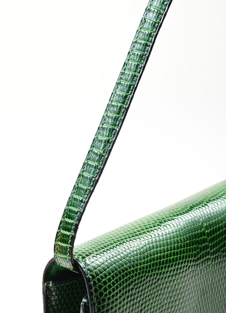 "Green Hermes Lizard Leather ""Marigny"" Envelope Clutch Shoulder Bag Detail 2"