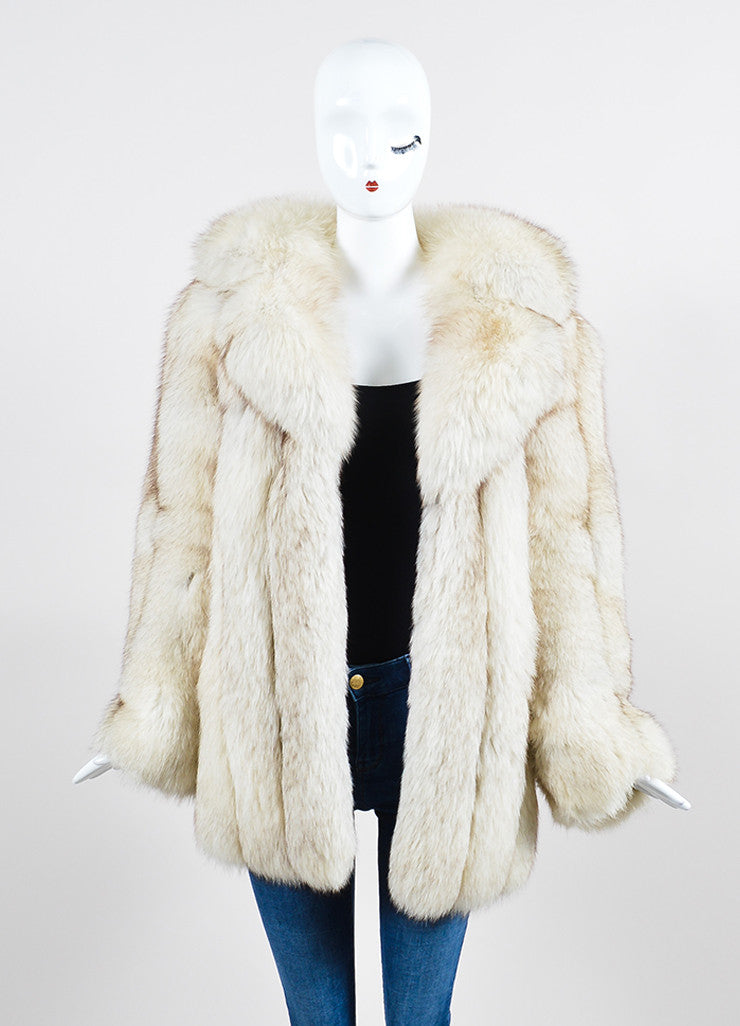 Cream and Brown I.Magnin Fur Channeled Coat Frontview