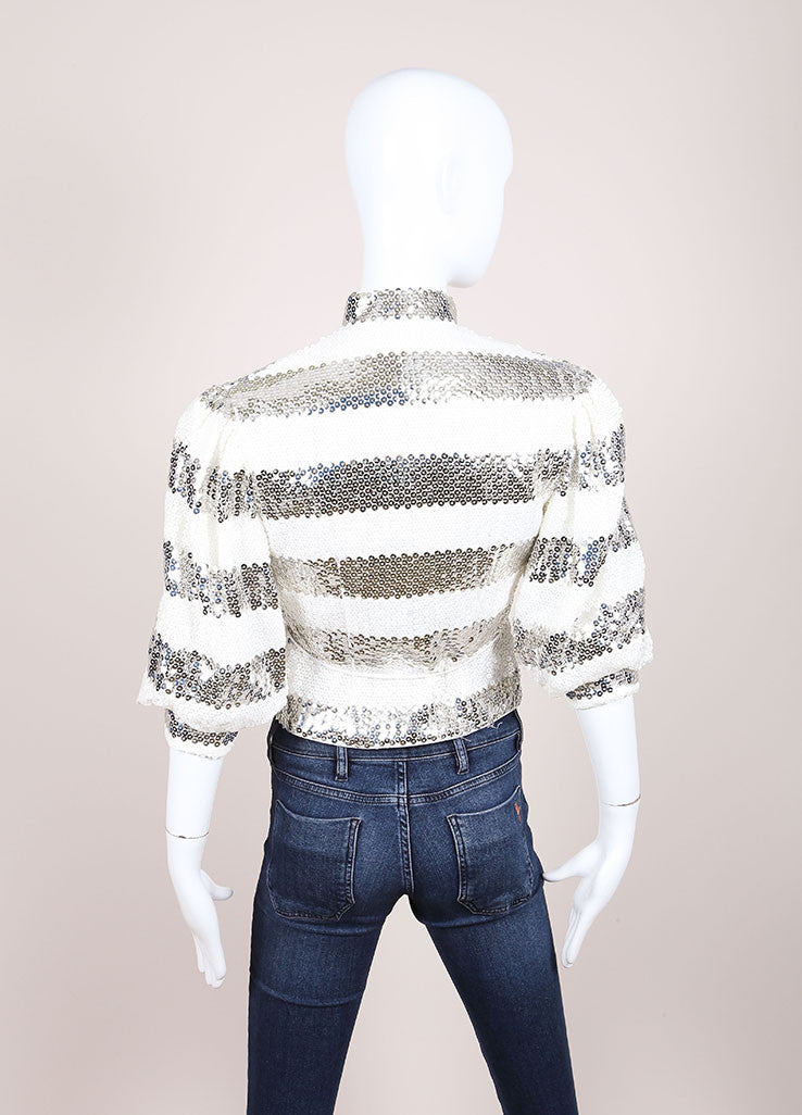 Vintage White and Silver Striped Sequin Three Quarter Sleeve Mandarin Collar Jacket Backview