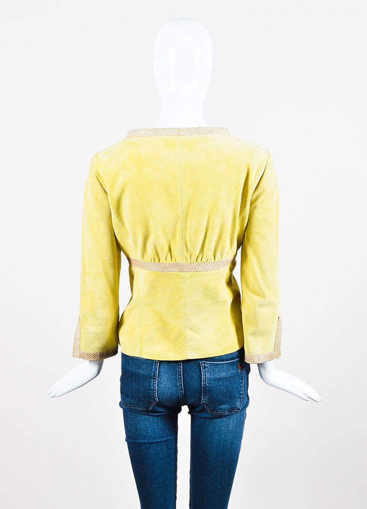 Valentino Chartreuse Yellow Suede and Ayers Snakeskin Trimmed Jacket Backview