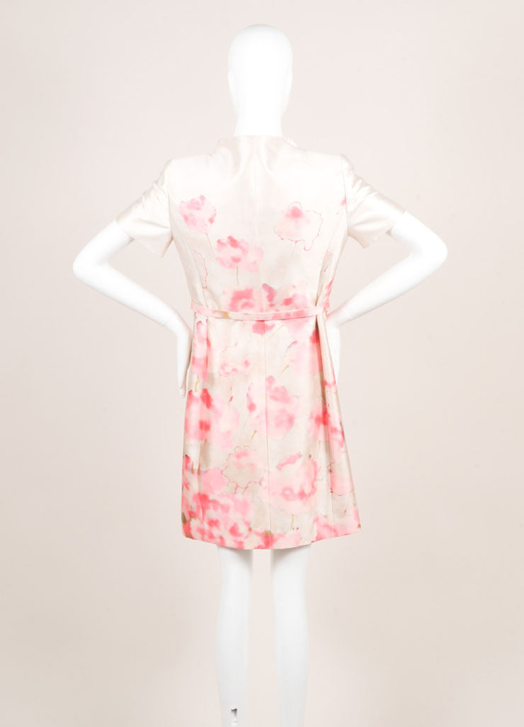 Valentino Cream and Pink Silky Water Color Floral Print Belted Short Sleeve Dress Backview