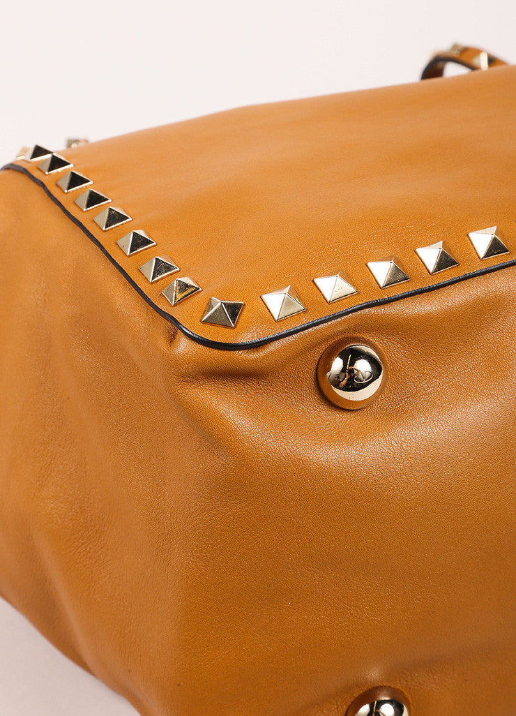 "Valentino New With Tags Tan Leather Studded Medium ""Rockstud"" Tote Bag Detail"