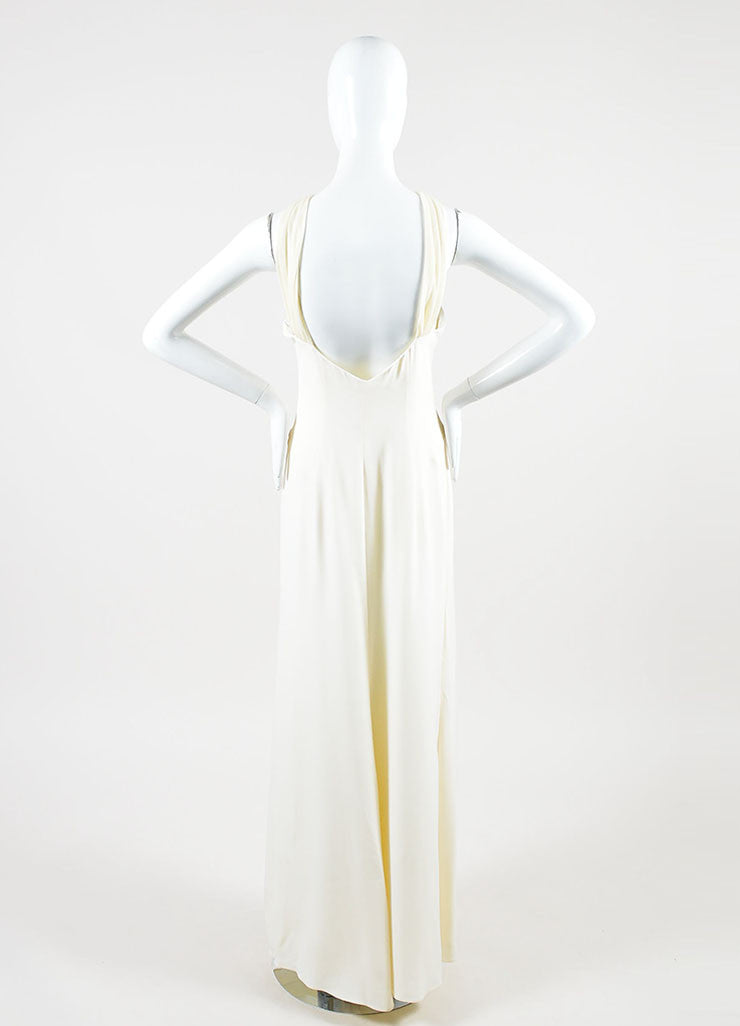 Cream Valentino Roma Silky Asymmetrical Shoulder Sleeveless Gown Dress Backview