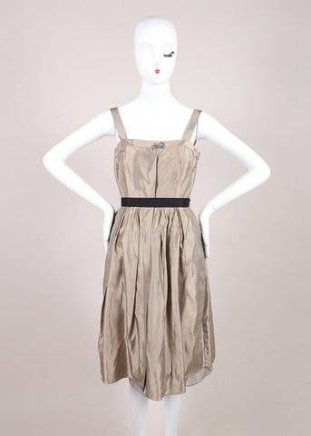Vera Wang Champagne Metallic Rhinestone Detail Belted Sleeveless Dress Frontview