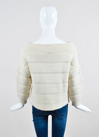 "Vilshenko Ivory Alpaca Wool Silk Ribbed ""Gaby"" Pullover Sweater Back"