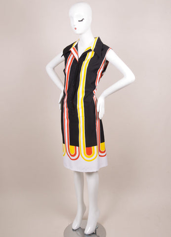 Lanvin Black, Red, and Yellow Striped Sleeveless Button Up Shift Dress Sideview