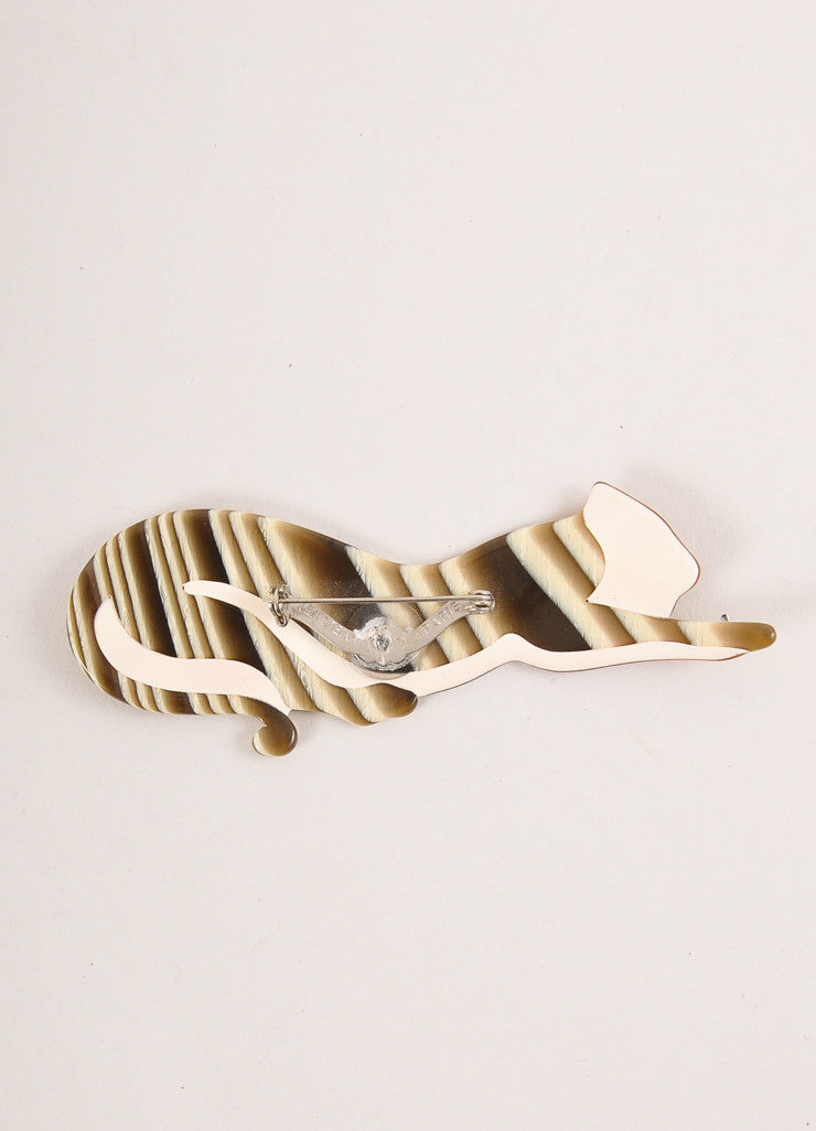 Lea Stein Green, Cream, and Brown Acetate Striped Stretching Cat Brooch Backview