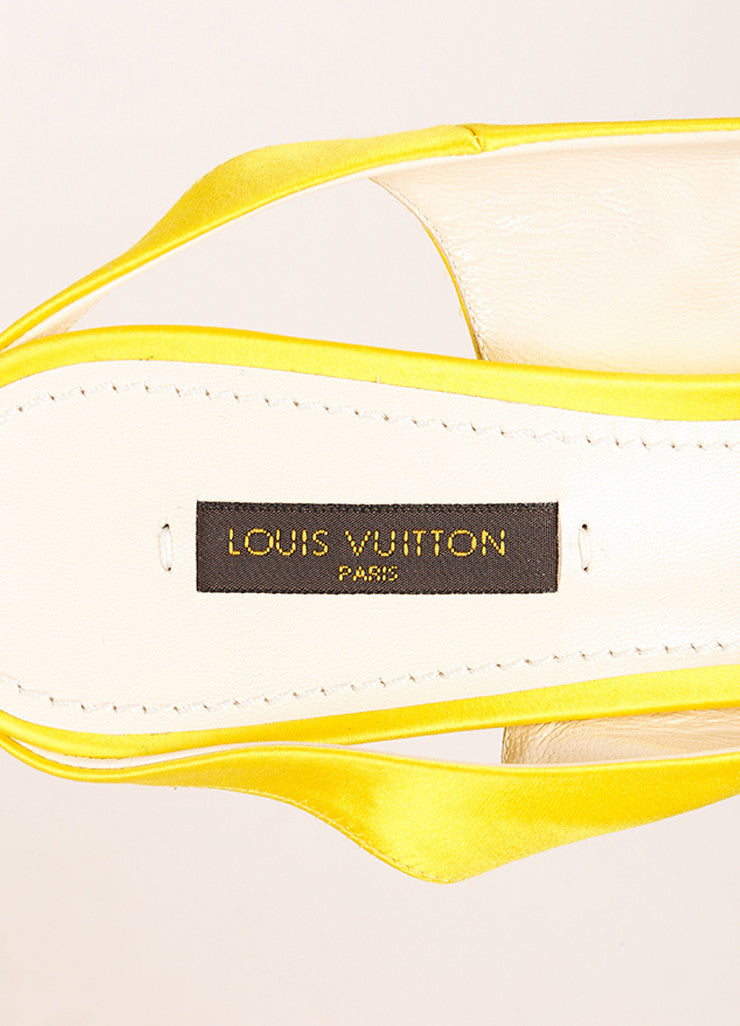 Louis Vuitton Yellow Satin Floral Print Slingback Heels Brand