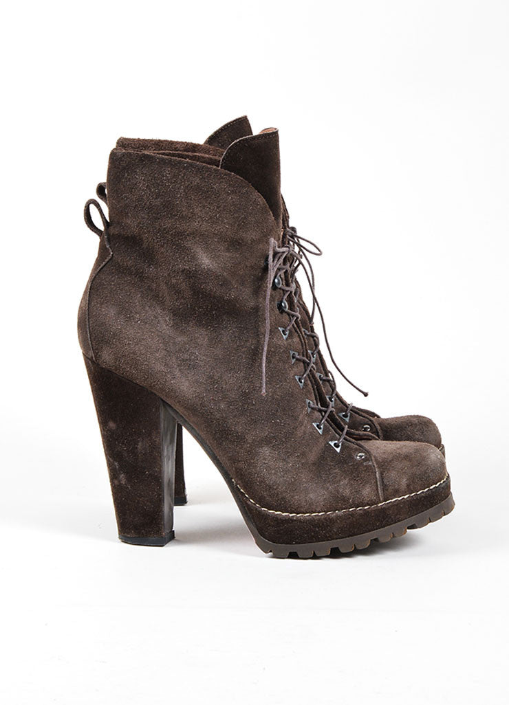 Brown Alaia Suede Lace Up Lug Ankle Boots Sideview