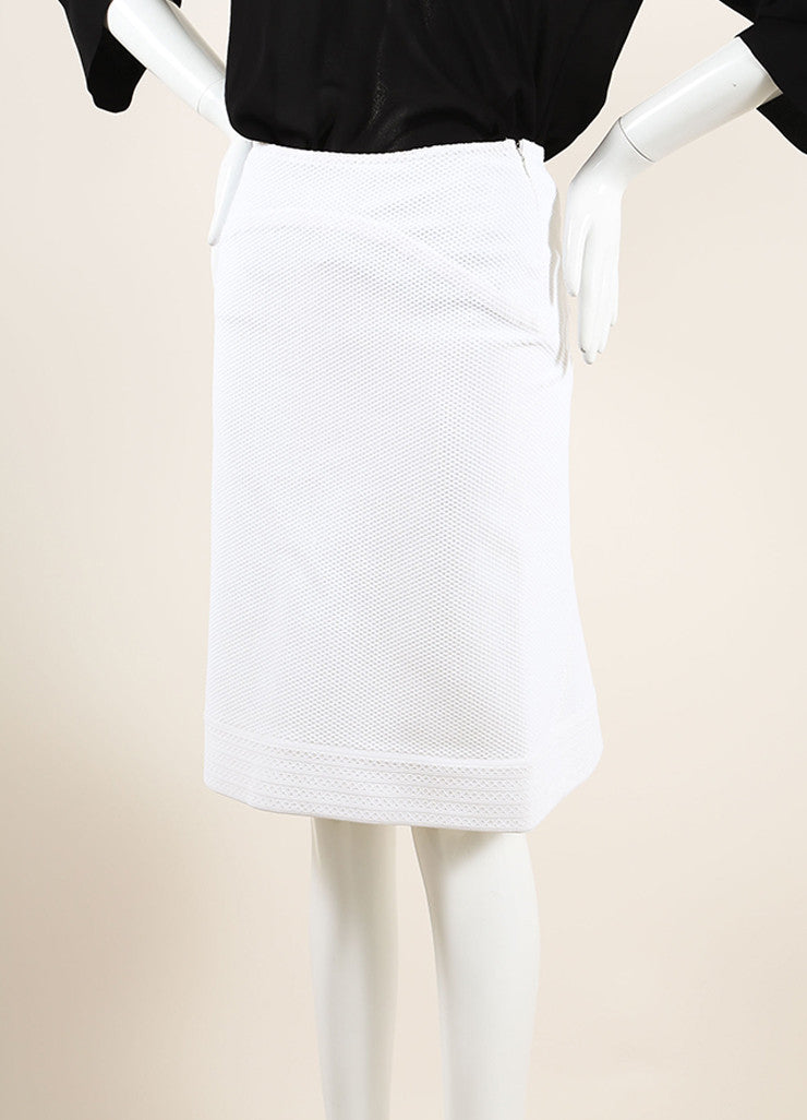 Alaia White Textured Stretch Knit Back Pleat Knee Length Skirt Sideview