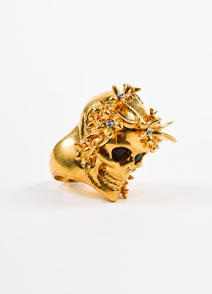 Alexander McQueen Gold Toned Swarovski Crystal Floral Skull Ring Sideview