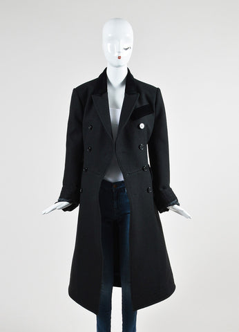Alexander McQueen Black Wool and Velvet Combo Double Breasted Coat Frontview