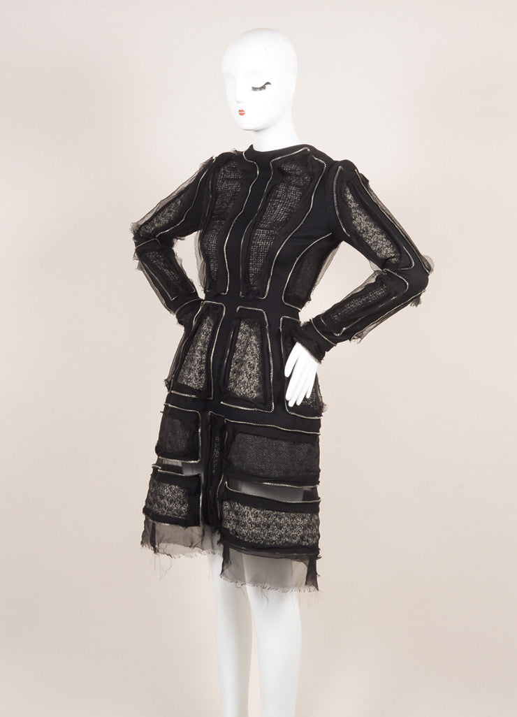 Alexander McQueen Black Tweed Wool Felt Zipper Trim Dress Sideview