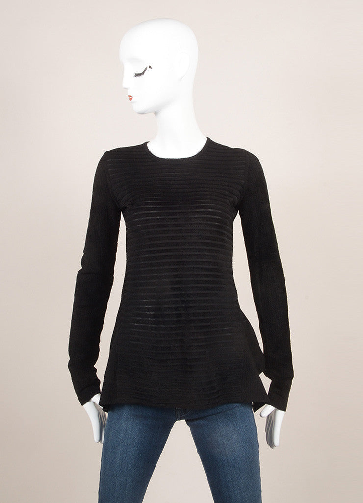 Alexander Wang Black Striped Chenille Long Sleeve High Low Peplum Top Frontview