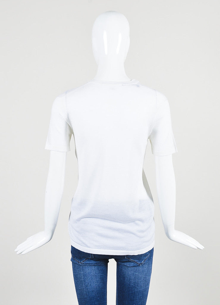 Alexander Wang Cream Wool and Silk Knit Short Sleeve Pocket T-Shirt Backview