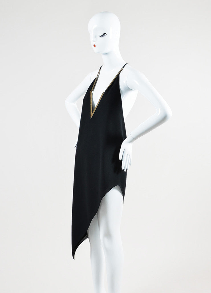 Black and Brass Anthony Vaccarello V-Neck Asymmetrical Halter Dress Sideview