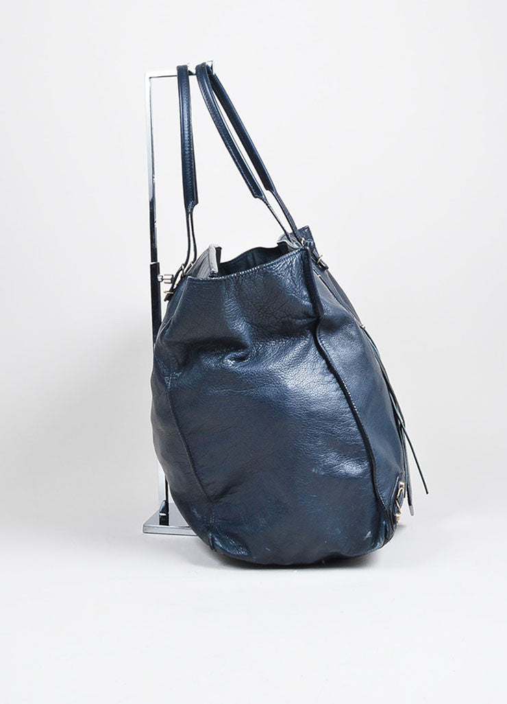 "Black and Dark Blue Leather Balenciaga Moto ""Papier Flap"" Tote Bag Sideview"