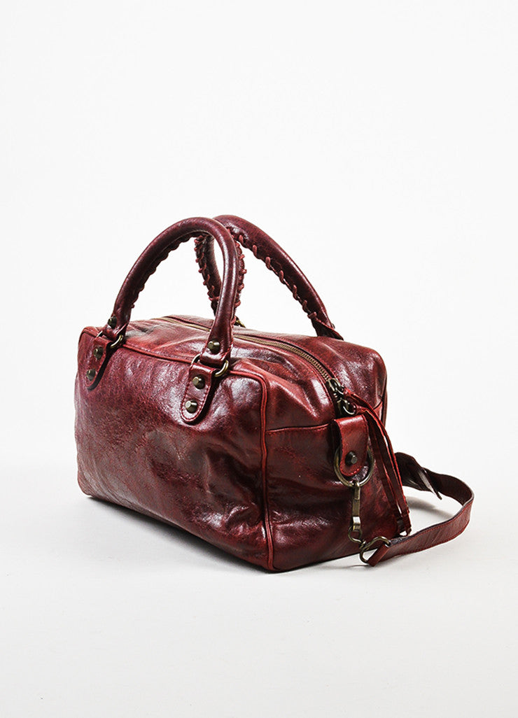 "Balenciaga Deep Red Leather ""Twiggy"" Satchel Bag With Shoulder Strap Sideview"