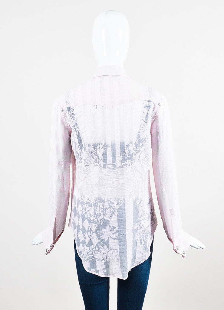 Balmain Light Pink Jester Stripe Print Semi Sheer Long Sleeve Button Down Top Backview