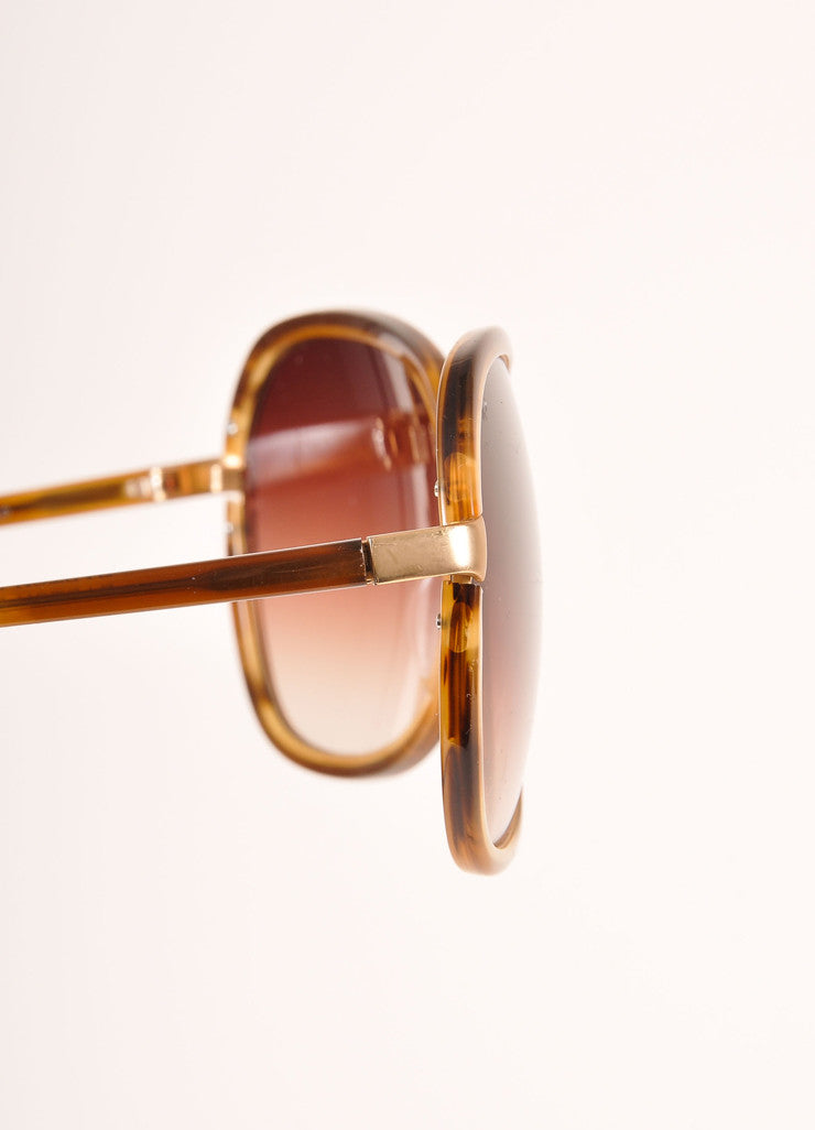 "Barton Perreira Brown and Gold Toned Oversized ""Centerfold"" Sunglasses Detail"