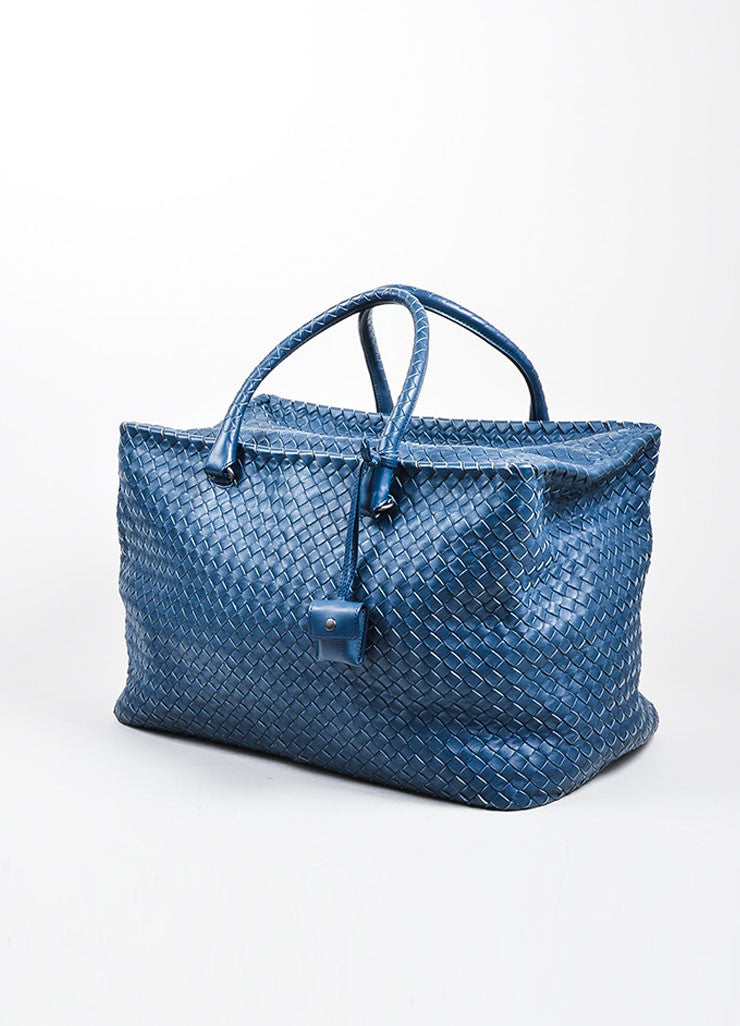 "Navy Bottega Veneta Leather Woven ""Intrecciato Weekend Bag"" Duffle Bag Sideview"