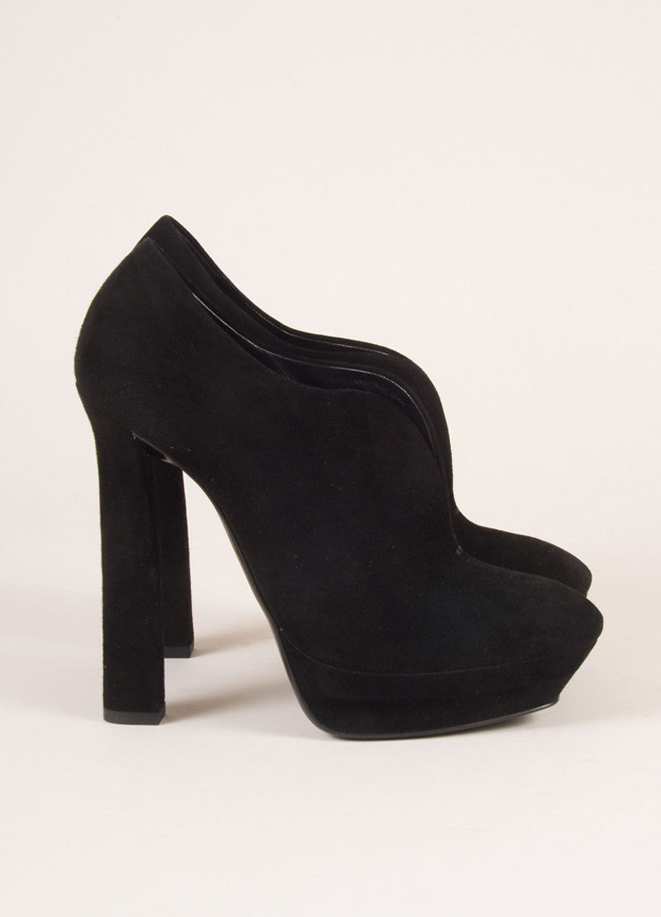 Bottega Veneta Black Suede Leather Platform Booties Sideview
