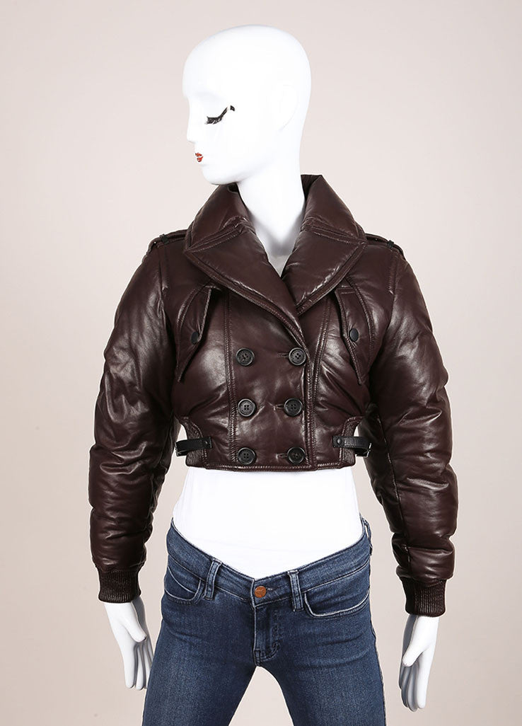 Burberry Prorsum Brown Leather Puffer Cropped Jacket Frontview