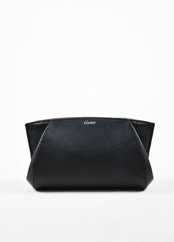 "Cartier ""Onyx"" Black Leather Winged Zipped ""C de Cartier"" Pouch Clutch Bag Frontview"
