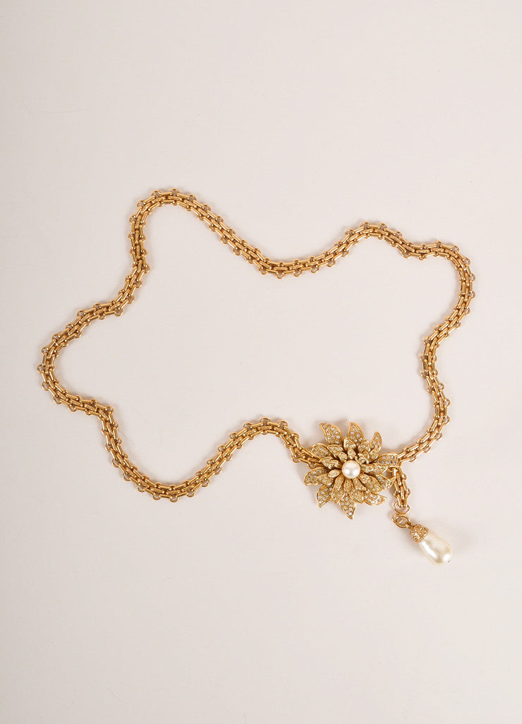 Chanel Gold Toned Flower Pendant Faux Pearl Rhinestone Reissue Chain Belt Frontview