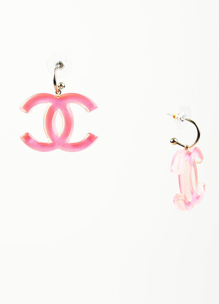 Pink Lucite and Enamel Chanel 'CC' Logo Drop Earrings Sideview