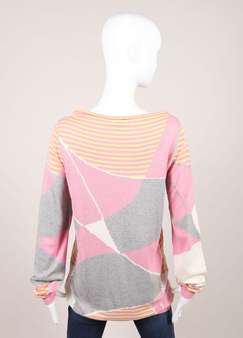 "Chanel Pink And Gray Multicolor Knit Cashmere Blend Printed ""5"" Sweater Backview"
