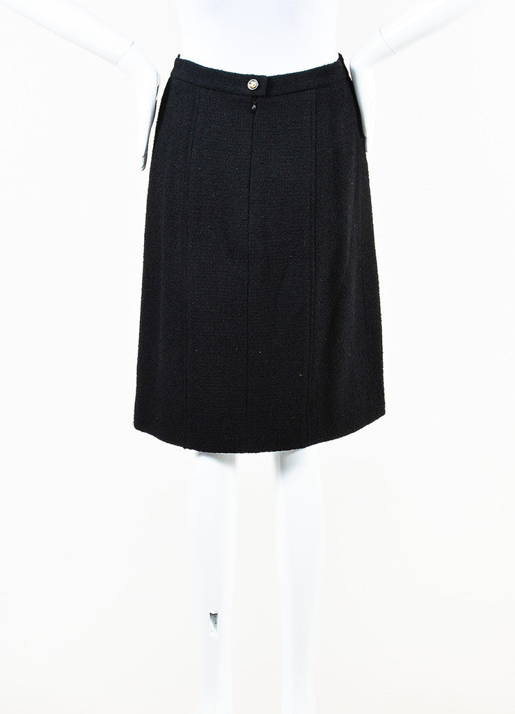 Chanel Black Wool Blend Tweed 'CC' Button Pencil Skirt Backview