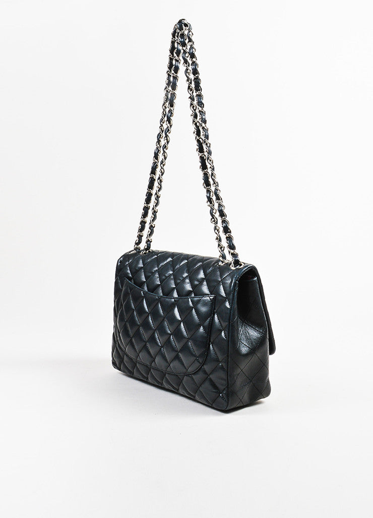 "Black Chanel Lambskin Quilted ""Timeless Classic Jumbo Single Flap"" Bag Sideview"