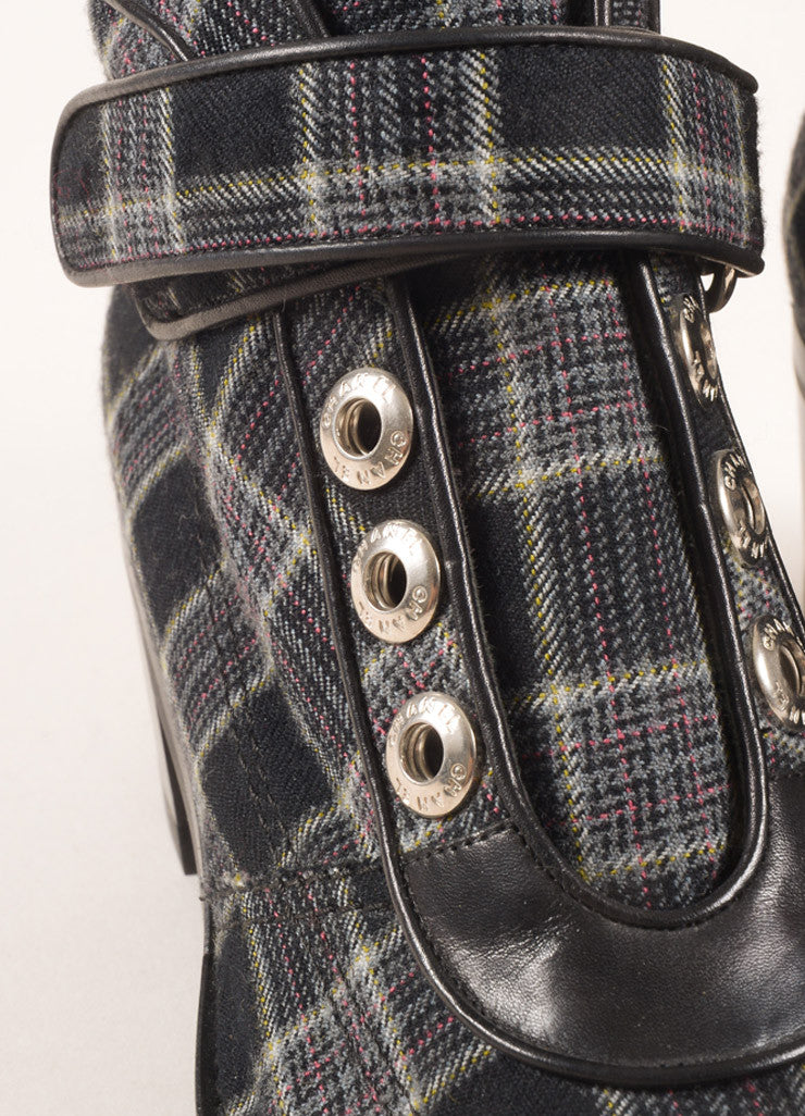 Chanel Black and Navy Leather and Wool Plaid Lug Ankle Boots Detail