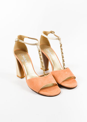 Coral Pink and Champagne Chanel Suede Leather T-Strap Chain Sandals Frontview