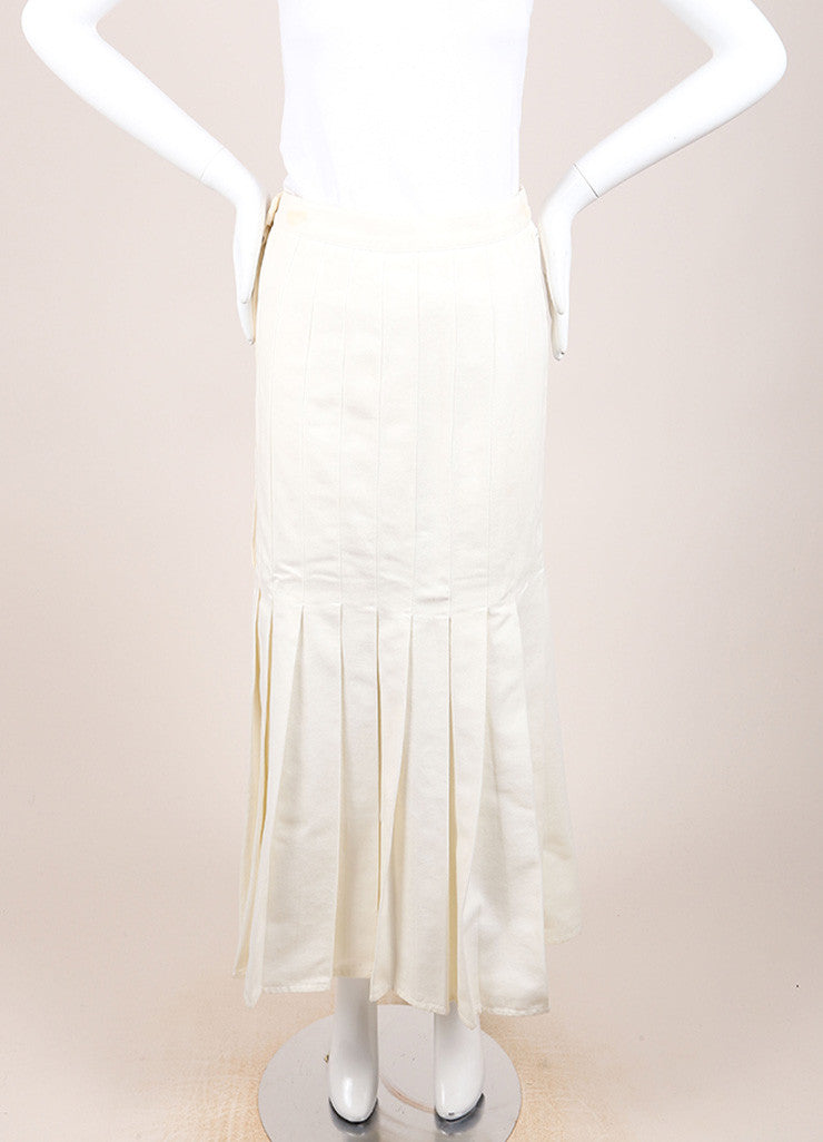 Chanel Cream Twill Pleated Drop Waist Maxi Skirt Frontview
