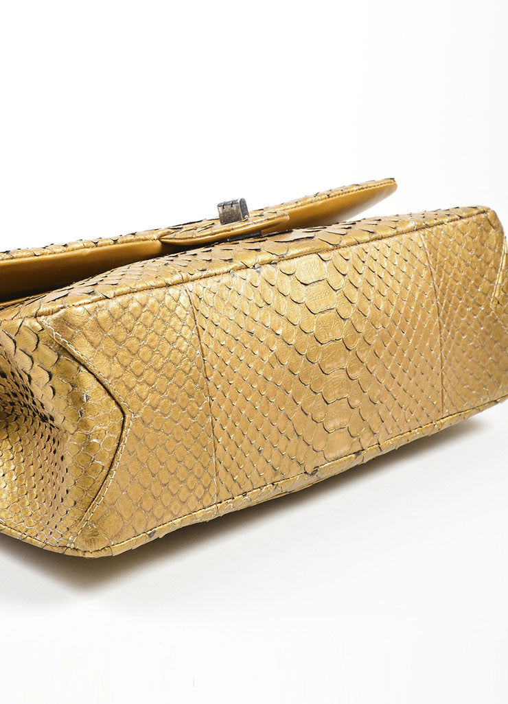 Chanel Gold Python 2.55 Reissue 226 Double Flap Bag Bottom View