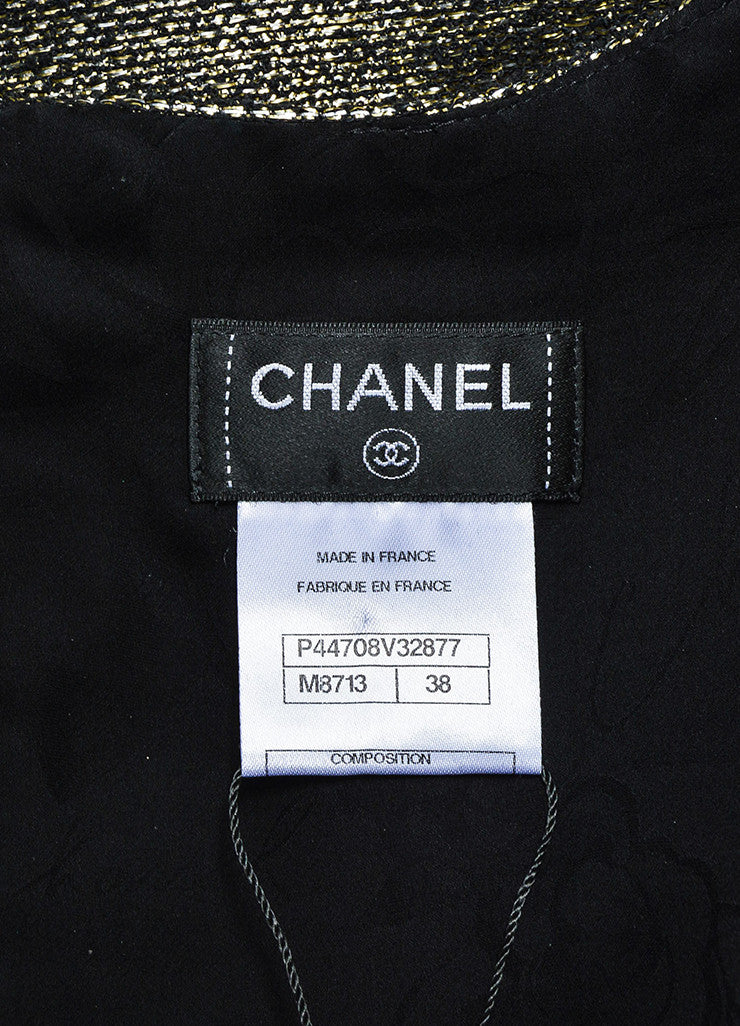 Chanel Gold and Silver Metallic Tweed Short Sleeve Top Brand