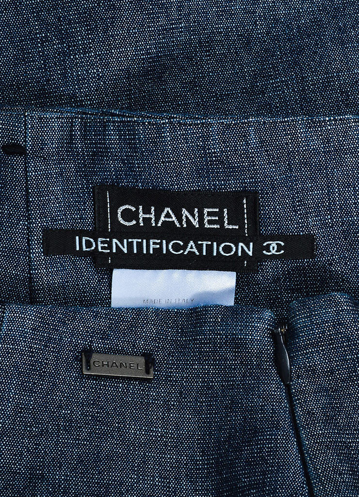 Chanel Blue Denim Knee Length Pencil Skirt Brand