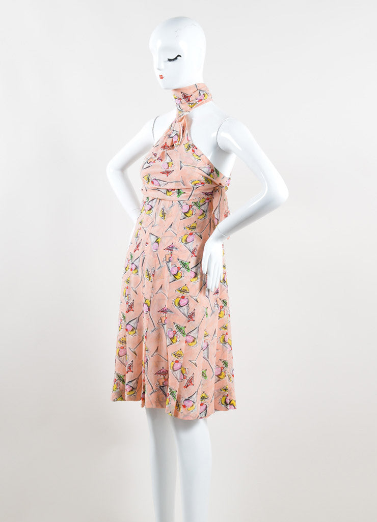 Chanel Light Pink and Multicolor Silk Chiffon Ice Cream Print Halter Dress Sideview