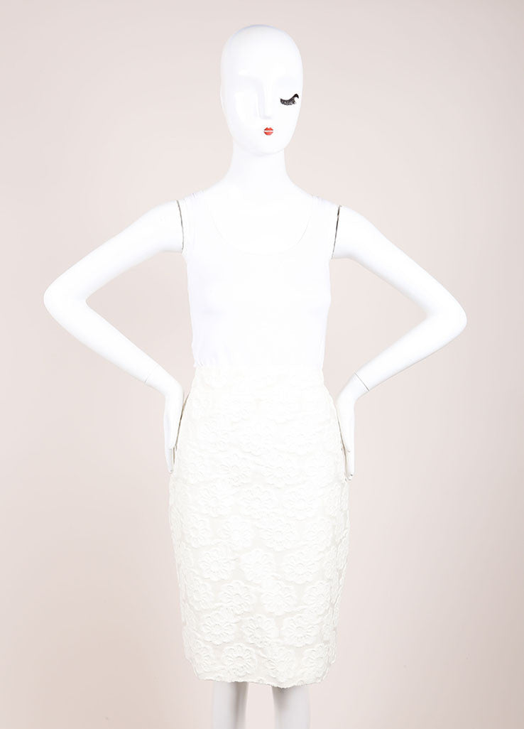 Chanel White Cotton Blend Flower Embroidered Pencil Skirt Frontview