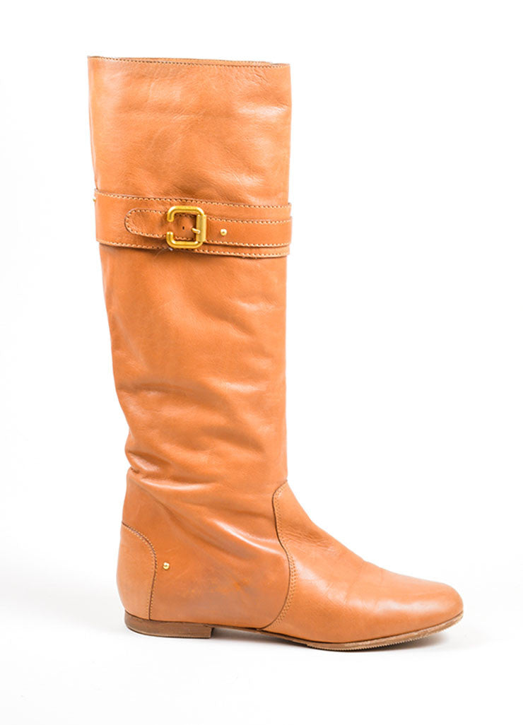 "Tan Chloe Leather Knee High Flat ""Zimba"" Boots Sideview"