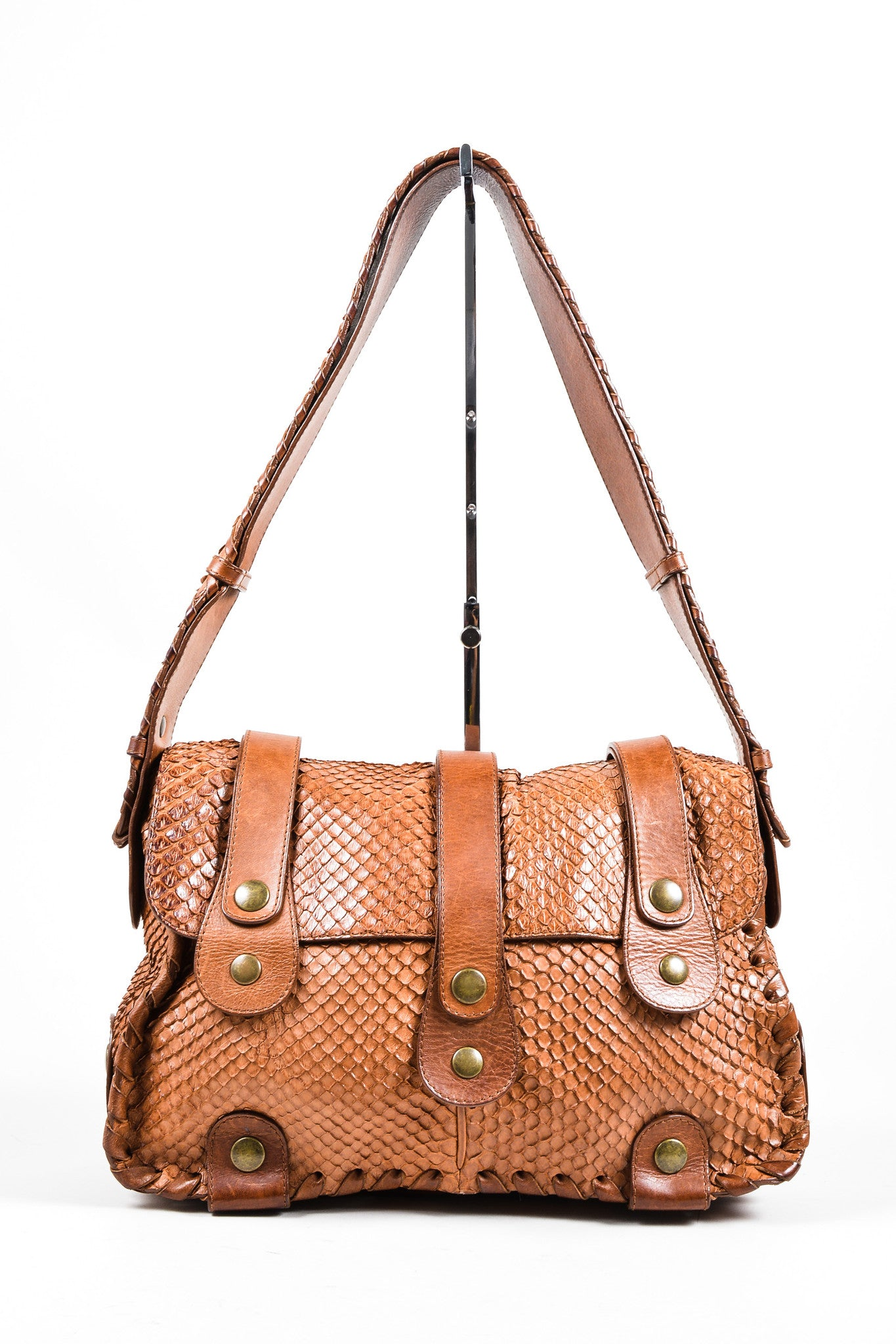 Brown Python Leather Chloe Flap Messenger Bag Frontview