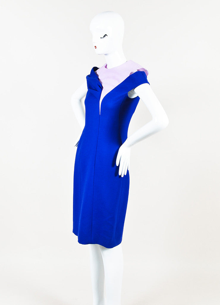 ¥éËChristian Dior Blue and Pink Wool Paneled Off The Shoulder Sheath Dress Sideview